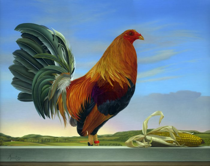 Marco Tulio, Rooster, Online Art Galleries, contemporary Canadian artist.
