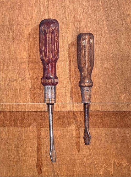 Jane-Wolsak-Two-Screwdrivers-2017-Acrylic-On-Wood-Panel-12x9-600-Online-Art-Galleries