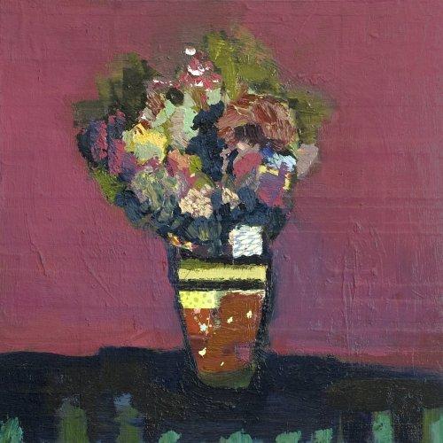 Jennifer-Hornyak-Cinder-Rose-with-Yellow-Dots-16x16-Online-Art-Galleries