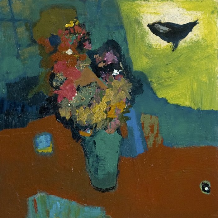 Jennifer-Hornyak-Venetian-Red-with-Bird-24x24-Online-Art-Galleries