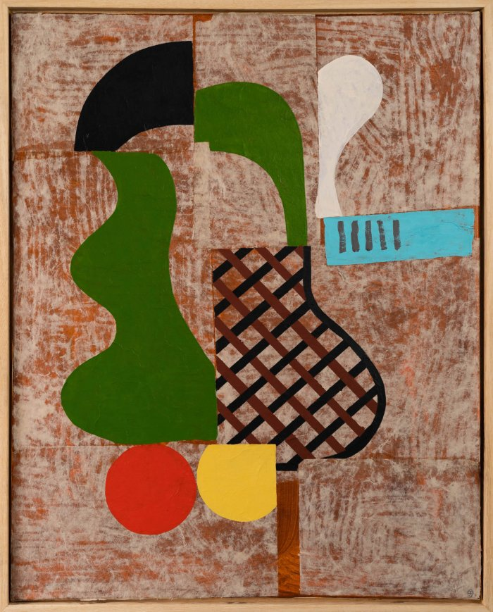 Hugh-Kearney-Guitar-Head-Mixed-Media-On-Paper-On-Canvas-31_5x25_5-framed-1900-Online-Art-Galleries