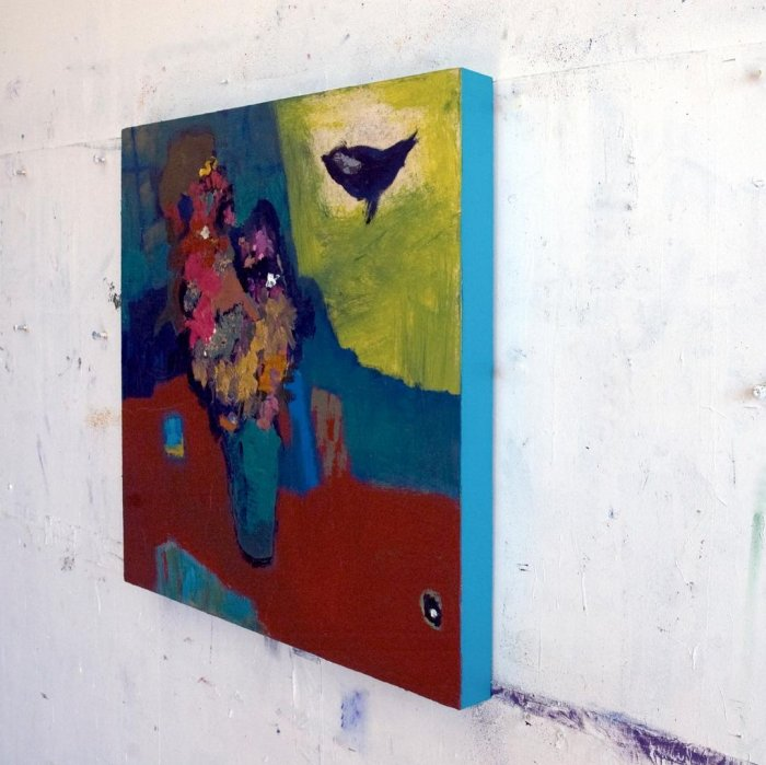 Jennifer-Hornyak-Venetian-Red-with-Bird-24x24-Online-Art-Galleries-side