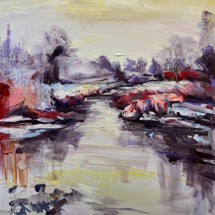 Julie-Himel-In-Dreaming-She-Walks-2020-Oil-On-Canvas-36x36-3250-Online-Art-Galleries