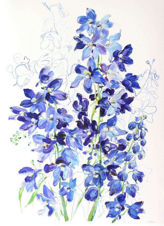 Krista-Johnson-Delphiniums-Excited-For-Your-Arrival-2019-Oil-On-Paper-30x22-850-Online-Art-Galleries