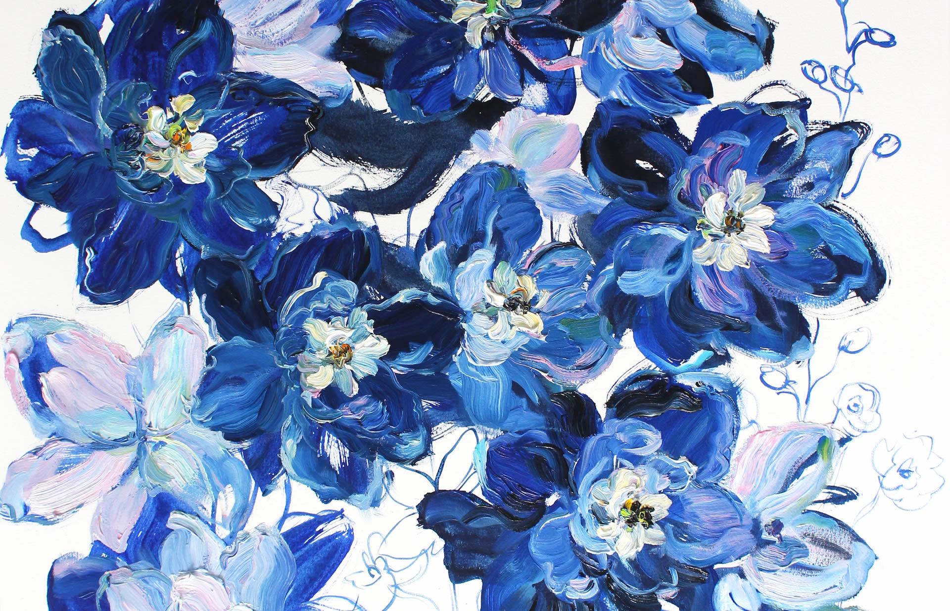 Krista-Johnson-Delphiniums-Flurry-Of-Blues-2019-Oil-On-Paper-30x22-850-Online-Art-Galleries