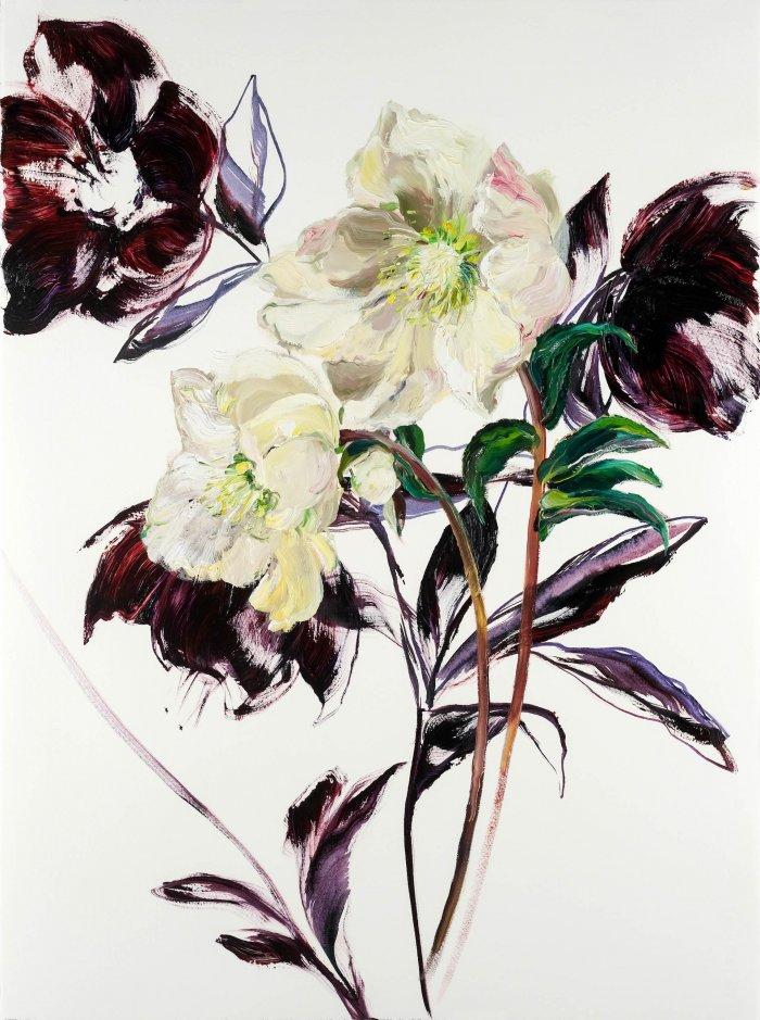 Krista-Johnson-Hellebores-Moving-Ahead-2021-Oil-On-Paper-30x22-850-Online-Art-Galleries