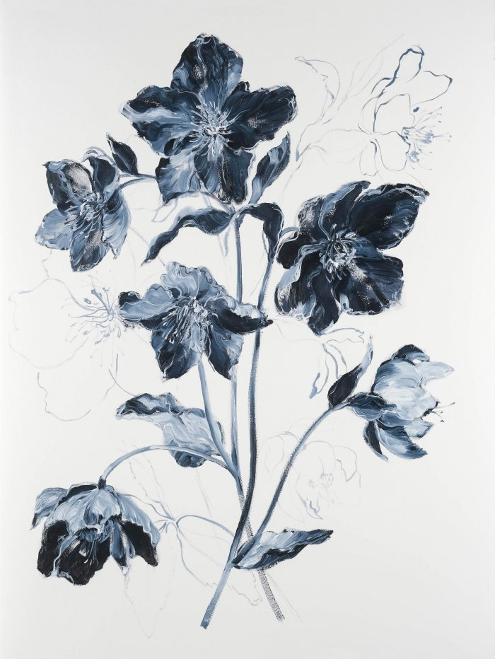 Krista-Johnson-Hellebores-Night-Calls-2021-Oil-On-Paper-30x22-850-Online-Art-Galleries