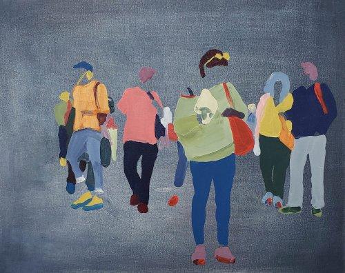 Sherry-Czekus-Checking-Messages-On-Dark-Denim-2021-Oil-On-Canvas-16x20-700-Online-Art-Galleries