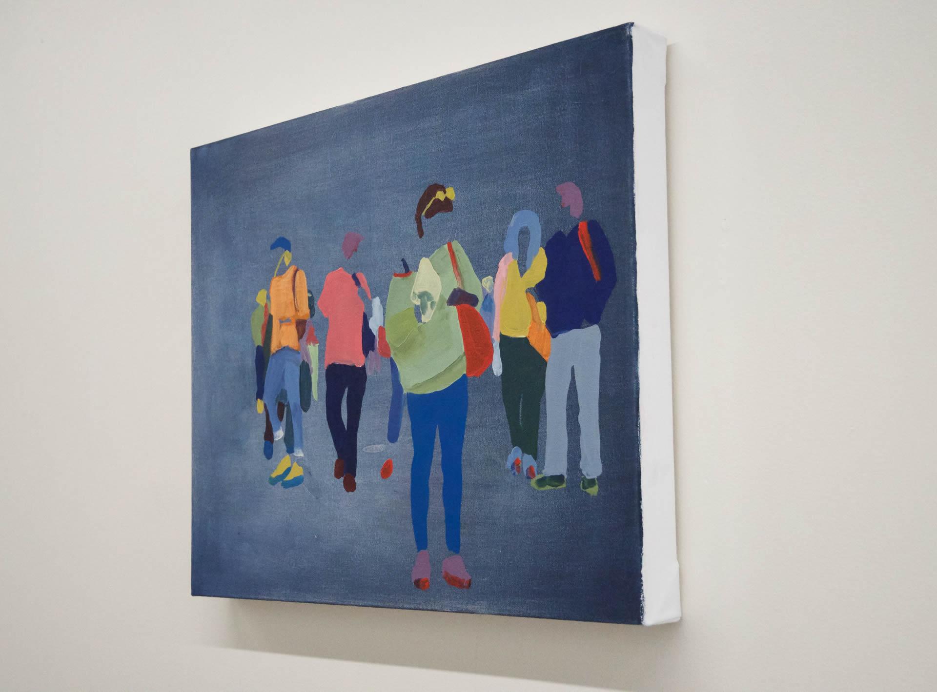 Sherry-Czekus-Checking-Messages-On-Dark-Denim-2021-Oil-On-Canvas-16x20-700-Online-Art-Galleries-side