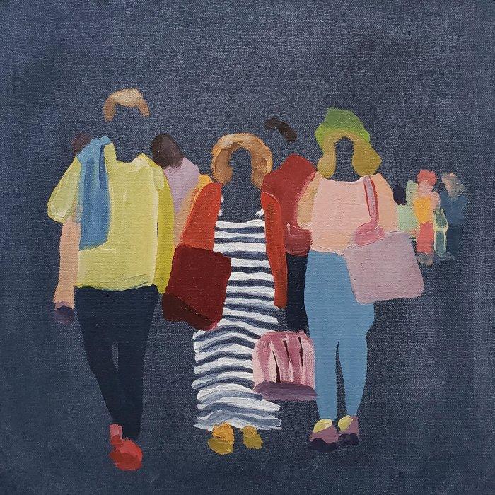 Sherry-Czekus-Pedestrians-On-Dark-Denim-2021-Oil-On-Canvas-12x12-500-Online-Art-Galleries