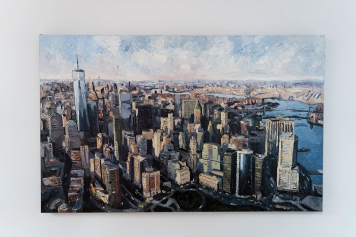 Mike-Fantuz-NYC-Financial-District-2020-oil-on-canvas-30x48-3900-Front-Online-Art-Galleries