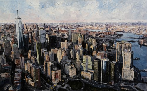 Mike-Fantuz-NYC-Financial-District-2020-oil-on-canvas-30x48-3900-Online-Art-Galleries