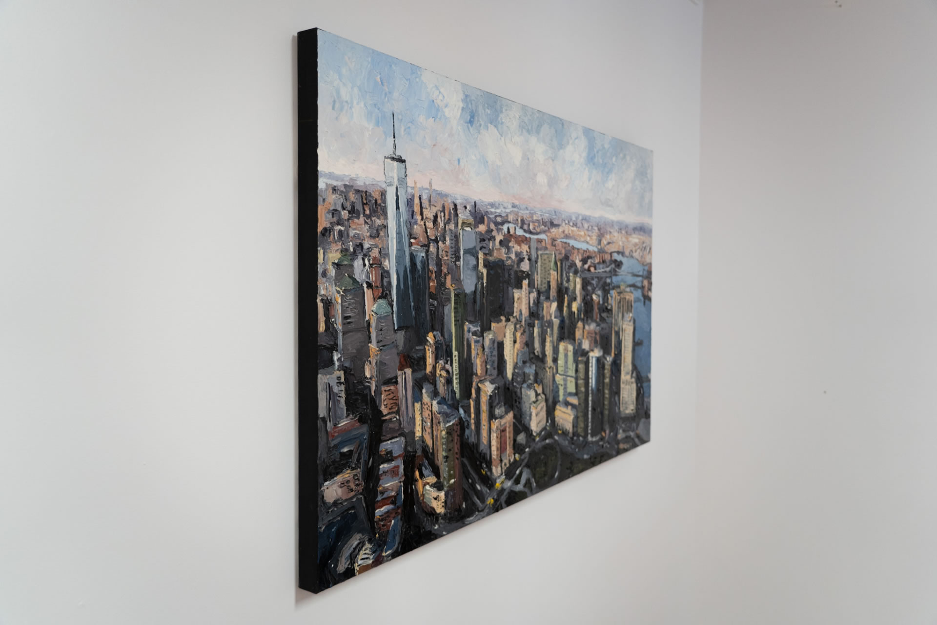 Mike-Fantuz-NYC-Financial-District-2020-oil-on-canvas-30x48-3900-Side-Online-Art-Galleries
