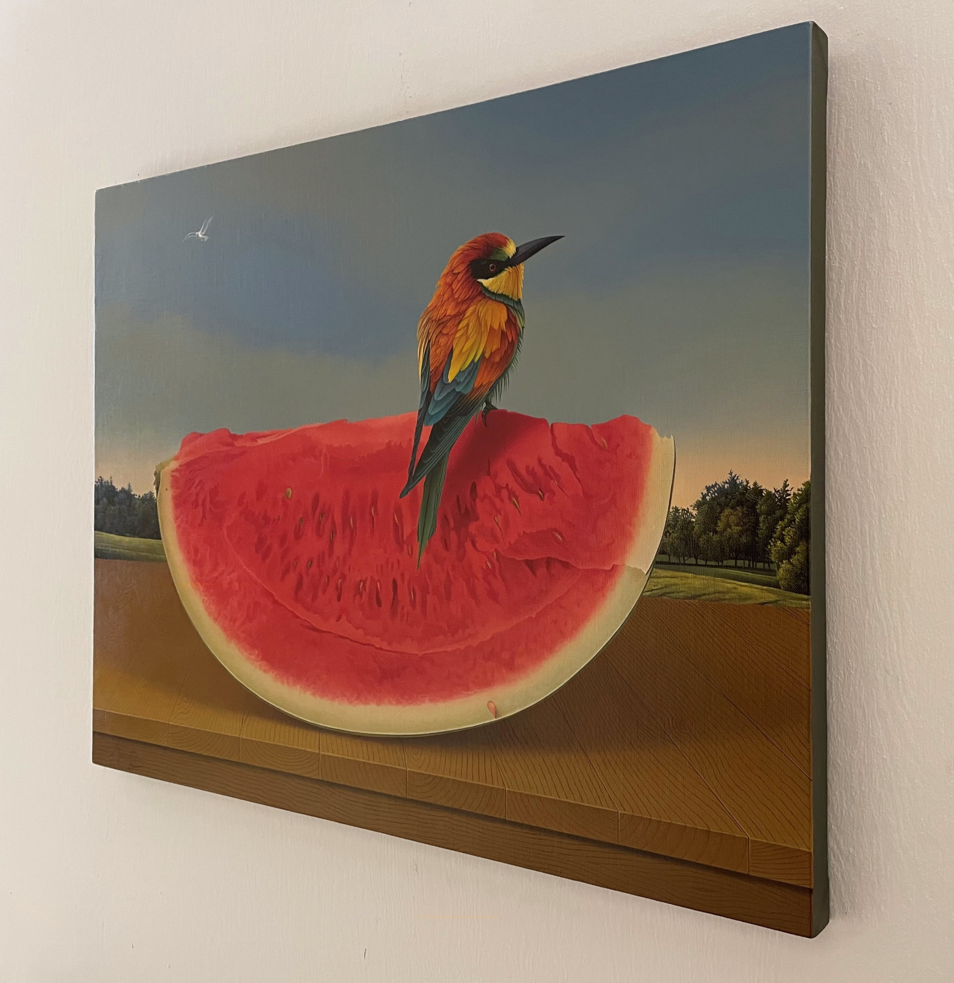 Marco-Tulio-The-Bee-Eater-18x24-oil-on-canvas-6000-painting-Side-Online-Art-Galleries