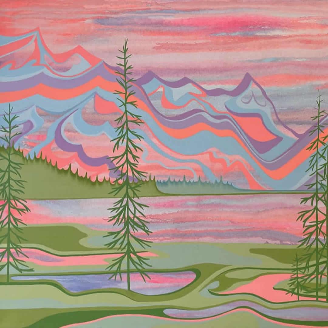 Tess-Paul-Spectrum-Lake-2021-Acrylic-On-Canvas-36x48-2600-Online-Art-Galleries